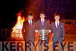 The Home Coming -Dingle's Members of the Kerry  Minor Team are Welcomed back to Dingle on Tuesday with the Traditional Bonfire Pictured Conor Geaney, Captain, Mark O'Connor and Tom O'Sullivan with the Tom Markham Cup