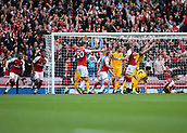 1st October 2017, Emirates Stadium, London, England; EPL Premier League Football, Arsenal versus Brighton; Nacho Monreal of Arsenal scores his sides first goal and celebrates with Hector Bellerin of Arsenal, 1-0 Arsenal