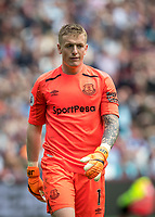Goalkeeper Jordan Pickford of Everton during the Premier League match between West Ham United and Everton at the Olympic Park, London, England on 13 May 2018. Photo by Andy Rowland / PRiME Media Images.