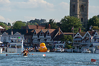 """Henley on Thames, United Kingdom, 3rd July 2018, Saturday,  """"Henley Royal Regatta"""",  Heat of the Silver Goblets and Nickalls' Challenge Cup, CRO M2-, Stroke Valent SINKOVIC, bow Martin SINKOVIC, approaching the Finish, View, Henley Reach, River Thames, Thames Valley, England, UK."""