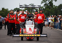 Aug 20, 2017; Brainerd, MN, USA; Crew members for NHRA top fuel driver Doug Kalitta during the Lucas Oil Nationals at Brainerd International Raceway. Mandatory Credit: Mark J. Rebilas-USA TODAY Sports