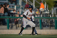 Lake Elsinore Storm left fielder Buddy Reed (23) takes a lead off third base during a California League game against the Modesto Nuts at John Thurman Field on May 11, 2018 in Modesto, California. Modesto defeated Lake Elsinore 3-1. (Zachary Lucy/Four Seam Images)
