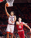 Jan 24, 2018; Champaign, IL, USA; Illinois Fighting Illini guard Mark Smith (13) shoots defended by Indiana Hoosiers guard Zach McRoberts (15) during the first half at State Farm Center. Mandatory Credit: Mike Granse-USA TODAY Sports