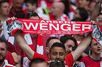 A fan hold up a Arsene Wenger scarf during the FA Cup Final match between Arsenal v Chelsea, Wembley stadium, London on 27th May 2017