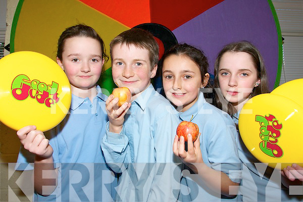 HEALTH SQUAD: Pupils from Curranes National School in Castleisland who are taking part in the Food Dudes Programme..L/r. Cloe Joyce, James McAuliffe, Lauren Nolan and Katie Cotter.   Copyright Kerry's Eye 2008
