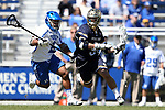DURHAM, NC - APRIL 08: Notre Dame's Brendan Gleason (9) and Duke's JT Giles-Harris (left). The Duke University Blue Devils hosted the University of Notre Dame Fighting Irish on April 8, 2017, at Koskinen Stadium in Durham, NC in a Division I College Men's Lacrosse match. Duke won the game 11-8.