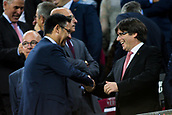 9th September 2017, Camp Nou, Barcelona, Spain; La Liga football, Barcelona versus Espanyol; Josep Maria Bartomeu and Carles Puigdemont president of Catalonia before the match