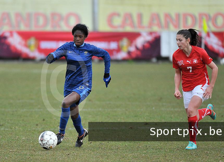 Switzerland U19 - France U19 : French Aminata Diallo has the ball before Swiss Carmen Pulver.foto DAVID CATRY / Nikonpro.be