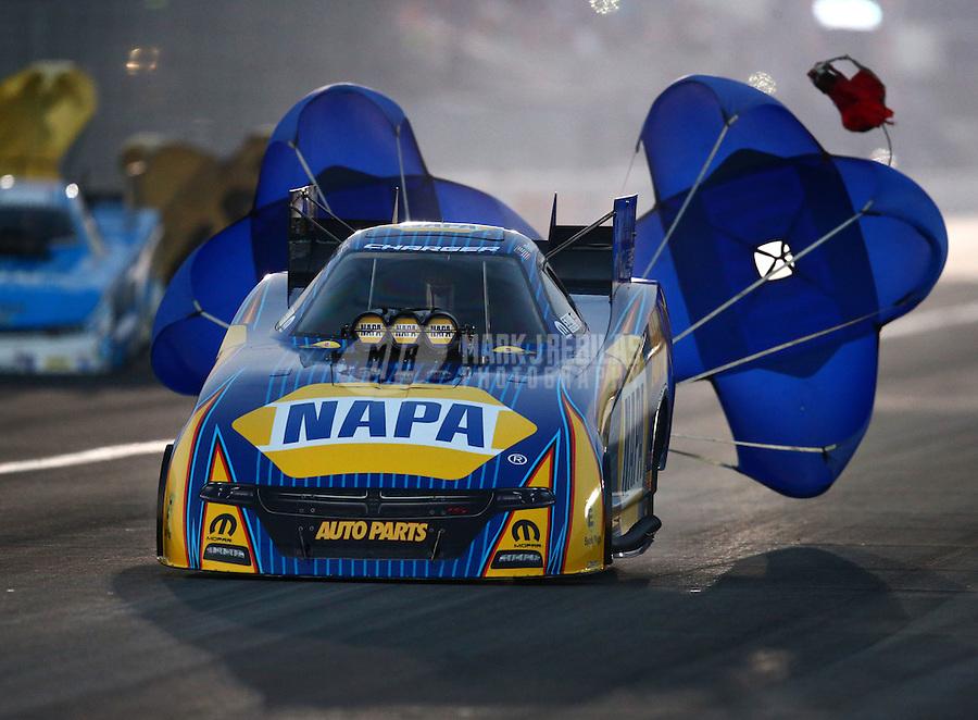 Feb 13, 2016; Pomona, CA, USA; NHRA funny car driver Ron Capps during the Winternationals at Auto Club Raceway at Pomona. Mandatory Credit: Mark J. Rebilas-USA TODAY Sports