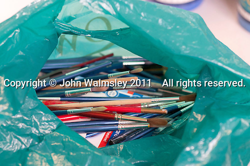 Bag of brushes, Art & Craft class for people needing learning support, Adult Learning Centre, Guildford, Surrey.
