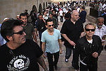 Depeche Mode band members, Dave Gahan, Andy Fletcher and Martin Gore are seen walking away from the western (Wailing) wall during their tour of Jerusalem's old city, Friday, May 8th, 2009. Israeli fans have been excitedly anticipating the arrival of the popular British electronic music band, who only two years ago cancelled a scheduled performance in Israel due to the outbreak of the second Lebanon war. The band members arrived in Israel on Thursday evening, and will stay until after their concert, which will take place Sunday evening the 10th, at the Ramat Gan Stadium. Photo By: Emil Salman / JINI...