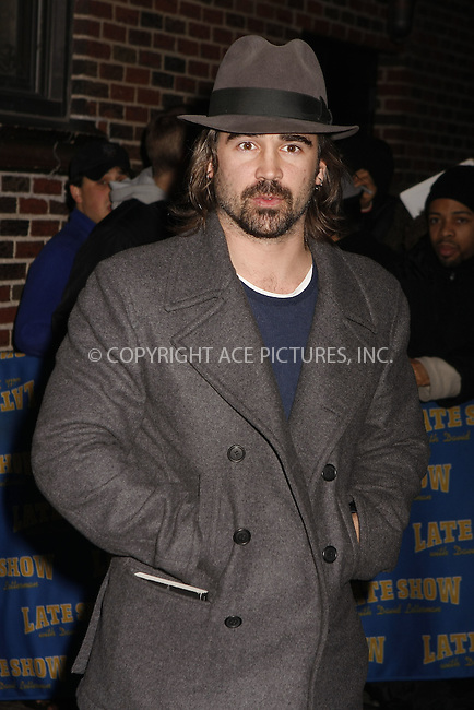 WWW.ACEPIXS.COM . . . . .  ....February 5 2008, New York City....Actor Colin Farrell made an appearance on the 'Late Show with David Letterman' at the Ed Sullivan Theatre in midtown Manhattan....Please byline: AJ Sokalner - ACEPIXS.COM..... *** ***..Ace Pictures, Inc:  ..te: (646) 769 0430..e-mail: info@acepixs.com..web: http://www.acepixs.com