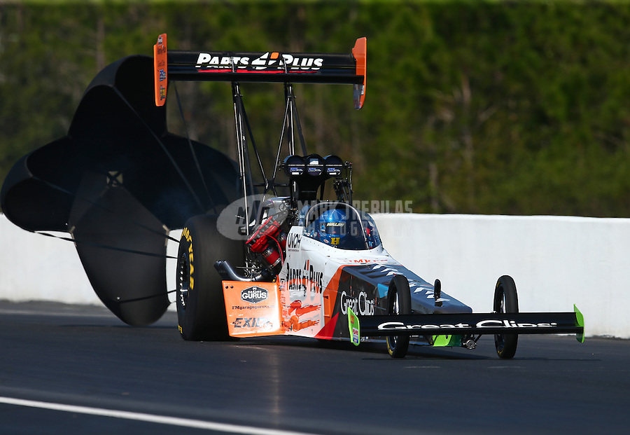 Mar 20, 2016; Gainesville, FL, USA; NHRA top fuel driver Clay Millican during the Gatornationals at Auto Plus Raceway at Gainesville. Mandatory Credit: Mark J. Rebilas-USA TODAY Sports