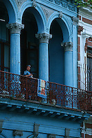 Amérique Centrale/Cuba/La Havane: Le Prado - Détail façades et balcons baroques - Architecture baroque et couleurs de l'Art Déco
