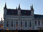 Town Hall Stadhuis at Dawn, Burg Square, Bruges, Brugge, Belgium