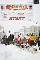 Bob Chlupach leaves the 2011 Iditarod ceremonial start line in downtown Anchorage, during the 2012 Iditarod..Jim R. Kohl/Iditarodphotos.com