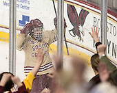 Johnny Gaudreau (BC - 13) celebrates his second goal of the game. - The Boston College Eagles defeated the visiting University of Notre Dame Fighting Irish 4-2 to tie their Hockey East quarterfinal matchup at one game each on Saturday, March 15, 2014, at Kelley Rink in Conte Forum in Chestnut Hill, Massachusetts.