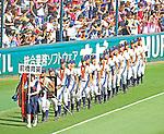 Maebashi Ikuei team group,<br /> AUGUST 22, 2013 - Baseball :<br /> Maebashi Ikuei players parade the field during the closing ceremony after winning the 95th National High School Baseball Championship Tournament final game between Maebashi Ikuei 4-3 Nobeoka Gakuen at Koshien Stadium in Hyogo, Japan. (Photo by Katsuro Okazawa/AFLO)