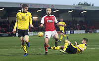 Fleetwood Town's Paddy Madden is tackled by Oxford United's Jamie Hanson<br /> <br /> Photographer Rich Linley/CameraSport<br /> <br /> The EFL Sky Bet League One - Fleetwood Town v Oxford United - Saturday 12th January 2019 - Highbury Stadium - Fleetwood<br /> <br /> World Copyright &copy; 2019 CameraSport. All rights reserved. 43 Linden Ave. Countesthorpe. Leicester. England. LE8 5PG - Tel: +44 (0) 116 277 4147 - admin@camerasport.com - www.camerasport.com