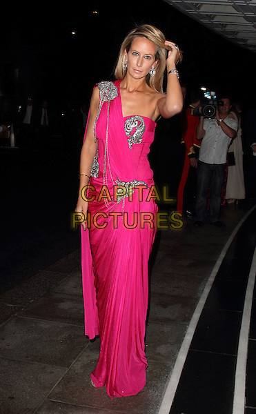 Lady Victoria Hervey.The Fashion for the Brave fundraising event in aid of the British Forces Foundation & the Household Cavalry Operational Casualties Fund, Dorchester Hotel, London, England..September 20th, 2012.full length dress sari hand arm silver pink one shoulder.CAP/ROS.©Steve Ross/Capital Pictures.