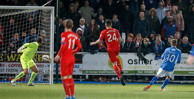 Gavin Reilly strokes the ball past Rangers keeper Steve Simonsen for the second Queens goal