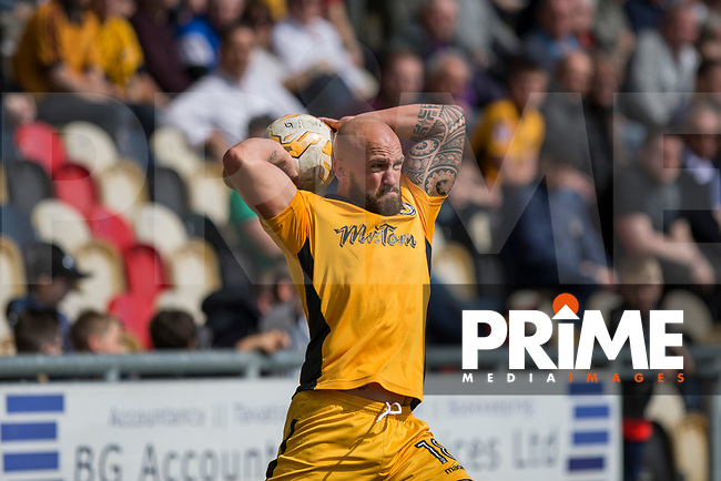 David Pipe of Newport County takes a throw during the Sky Bet League 2 match between Newport County and Accrington Stanley at Rodney Parade, Newport, Wales on 22 April 2017. Photo by Mark  Hawkins.