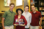 """Robin Strasser will be reading passages Red Carpet Riot by """"David Van Etten"""" who is actually three writters: Emmy-winning OLTL scribe Chris Van Etten (3rd right) and his friends David Levithan and David Ozanich (L) on August 15, 2009 at Borders, Time Warner Center Mall, New York City, New York. (Photo by Sue Coflin/Max Photos)"""