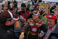 Feb 11, 2007; Daytona, FL, USA; Nascar Nextel Cup driver David Gilliland (38) celebrates with crew chief Todd Parrott after winning the pole for the Daytona 500 at Daytona International Speedway. Mandatory Credit: Mark J. Rebilas