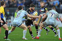 Guy Mercer of Bath Rugby takes on the Worcester Warriors defence. Aviva Premiership match, between Bath Rugby and Worcester Warriors on December 27, 2015 at the Recreation Ground in Bath, England. Photo by: Patrick Khachfe / Onside Images