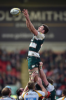 Mike Fitzgerald of Leicester Tigers rises high to win lineout ball. Aviva Premiership match, between Leicester Tigers and Wasps on November 1, 2015 at Welford Road in Leicester, England. Photo by: Patrick Khachfe / Onside Images