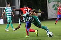 BOGOTÁ - COLOMBIA, 04-09-2019:Amaury Torralvo (Der.) jugador de La Equidad  disputa el balón con Andrey Stupinan (Izq.) jugador del Deportivo Pasto durante partido por la fecha 7 de la Liga Águila II 2019 jugado en el estadio Metropolitano de Techo de la ciudad de Bogotá. /Amaury Torralvo (R) player of La Equidad fights the ball  against of Andrey Stupinan (L) player of Deportivo Pasto  during the match for the date 7th of the Liga Aguila II 2019 played at the Metropolitano de Techo  stadium in Bogota city. Photo: VizzorImage / Felipe Caicedo / Staff.
