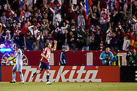 CD Chivas USA midfielder & Captain Jimmy Conrad begins to celebrate after scoring his first goal. Sporting KC defeated CD Chivas USA 3-2 at Home Depot Center stadium in Carson, California on Saturday March 19, 2011...