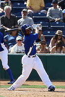 Nick Akins #5 of the Rancho Cucamonga Quakes bats against the Inland Empire 66'ers at The Epicenter on April 8, 2012 in Rancho Cucamonga,California. Inland Empire defeated Rancho Cucamonga 7-1.(Larry Goren/Four Seam Images)