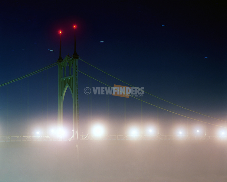 A rare foggy night at the St. Johns Bridge in north Portland.