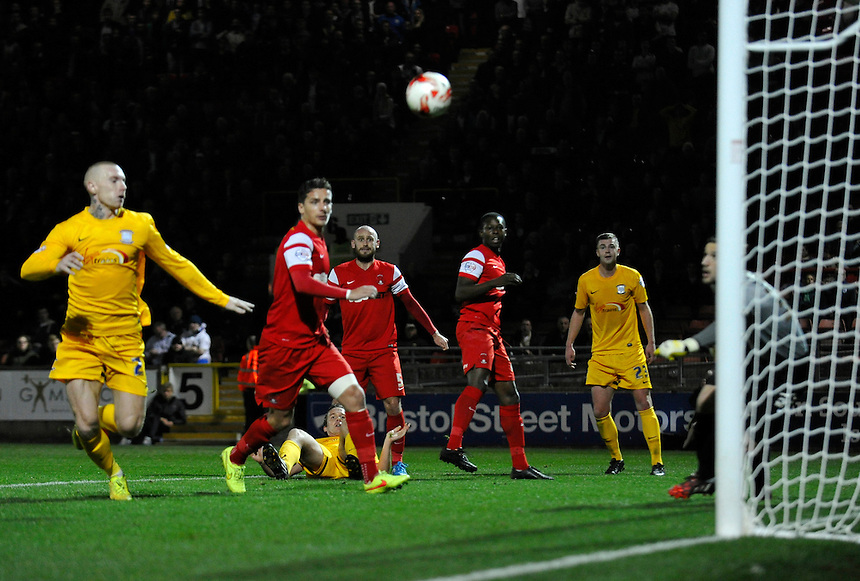 Preston North End's Kevin Davies (grounded) puts the ball wide from a free kick<br /> <br /> Photographer Ashley Western/CameraSport<br /> <br /> Football - The Football League Sky Bet League One - Leyton Orient v Preston North End - Tuesday 28th October 2014 - Matchroom Stadium - London<br /> <br /> &copy; CameraSport - 43 Linden Ave. Countesthorpe. Leicester. England. LE8 5PG - Tel: +44 (0) 116 277 4147 - admin@camerasport.com - www.camerasport.com