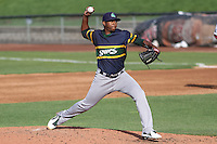 Beloit Snappers pitcher Carlos Navas (29) delivers a pitch during a Midwest League game against the Wisconsin Timber Rattlers on May 30th, 2015 at Fox Cities Stadium in Appleton, Wisconsin. Wisconsin defeated Beloit 5-3 in the completion of a game originally started on May 29th before being suspended by rain with the score tied 3-3 in the sixth inning. (Brad Krause/Four Seam Images)