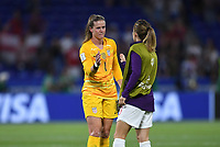 DECINES-CHARPIEU, FRANCE - JULY 02: Alyssa Naeher #1 celebrates her PK save and victory over England during a 2019 FIFA Women's World Cup France Semi-Final match between England and the United States at Groupama Stadium on July 02, 2019 in Decines-Charpieu, France.