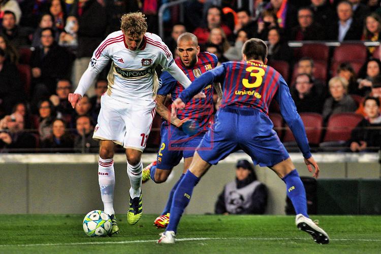 Stefan Reinartz vs Gerard Pique - FC Barcelona vs Bayern Leverkusen: 7-1 - UEFA Champions League 2012 - Octavos Final.