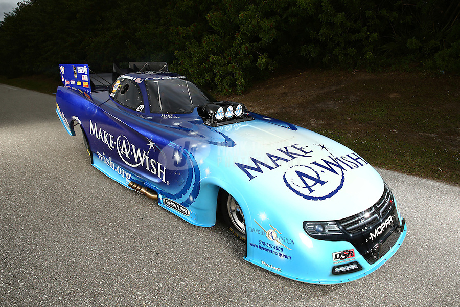 Jan 15, 2015; Jupiter, FL, USA; A portrait of the car of NHRA funny car driver Tommy Johnson Jr during preseason testing at Palm Beach International Raceway. Mandatory Credit: Mark J. Rebilas-USA TODAY Sports