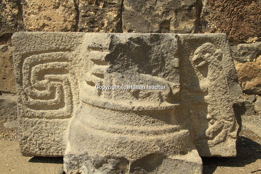 Golan Heights, a decorated stone at Umm el Kanatir ancient Synagogue