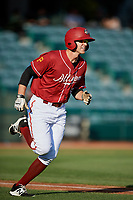 Altoona Curve right fielder Jordan George (24) runs to first base during a game against the Richmond Flying Squirrels on May 15, 2018 at Peoples Natural Gas Field in Altoona, Pennsylvania.  Altoona defeated Richmond 5-1.  (Mike Janes/Four Seam Images)