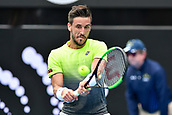 10th January 2018, Sydney Olympic Park Tennis Centre, Sydney, Australia; Sydney International Tennis, round 2; Damir Dzumhur (BIH) in his match against Alex De Minaur (AUS)