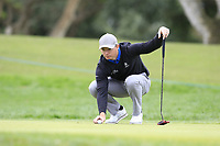 Lasse Jensen (DEN) on the 18th green during Saturday's storm delayed Round 2 of the Andalucia Valderrama Masters 2018 hosted by the Sergio Foundation, held at Real Golf de Valderrama, Sotogrande, San Roque, Spain. 20th October 2018.<br /> Picture: Eoin Clarke | Golffile<br /> <br /> <br /> All photos usage must carry mandatory copyright credit (&copy; Golffile | Eoin Clarke)