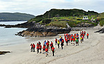 8-7-2017: Some of the participants pictured walking on Derrynane Strand in County Kerry on Saturday in the Kerry Way Walk in aid of Breakthrough Cancer Research. The three day charity walk around South Kerry attracts walkers from all over Ireland and has raised over &euro;670,000 in its 14 year history.<br /> Photo Don MacMonagle<br /> <br /> Repro free photo breakthrough cancer research