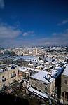 Israel, Snow over the Old City of Jerusalem