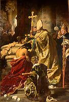 Taufe des künftigen Königs Stephan I, Gemälde von 1875 9n Nationalgalerie Magyar Nemzeti Galéria im Burgpalast in Buda, Budapest, Ungarn