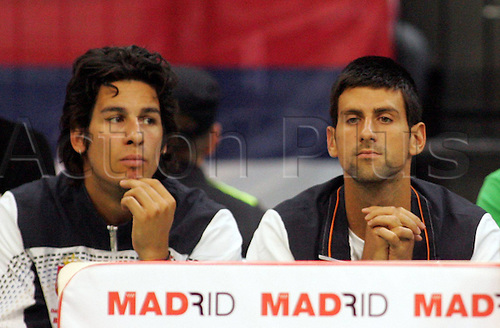 17.09.2011 Davis Cup World Group Tennis Semi Final from Belgrade. Serbia v Argentina. Picture shows the men's doubles, Ilija Bozoljac (left) with Novak Djokovic (right) from Serbia.