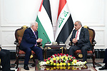 Palestinian President Mahmoud Abbas meets with Iraqi Prime Minister Adel Abdul Mahdi, in Baghdad on March 03, 2019. Photo by Thaer Ganaim