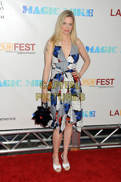 "Kristin Bauer van Straten.""Magic Mike"" Los Angeles Film Festival 2012 Premiere held at Regal Cinemas LA Live, Los Angeles, California, USA..June 24th, 2012.full length black white grey gray blue print dress butterfly butterflies hand on hip bag purse.CAP/ADM/BP.©Byron Purvis/AdMedia/Capital Pictures."