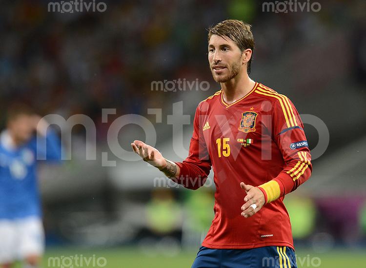 FUSSBALL  EUROPAMEISTERSCHAFT 2012   FINALE Spanien - Italien            01.07.2012 Sergio Ramos (Spanien)  emotional